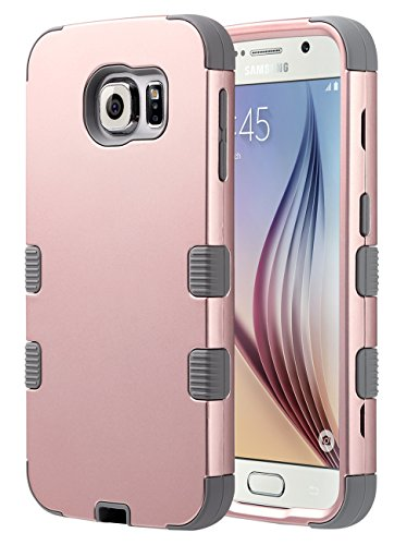 ULAK Galaxy S6 Case,S6 Case, Shock Resistant Hybrid Soft Silicone Hard PC Cover Case for Samsung Galaxy S6, Will NOT Fit S6 Active (Rose Gold/Gray)