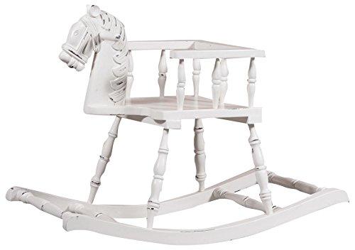 - Solid Wood Mahogany Made Antiqued White Finish W75xDP30xH50 cm Sized Rocking Horse