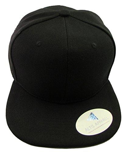 Kid's Youth Flat Bill Snapback Hat - Hip Hop Baseball Cap (Solid Black)