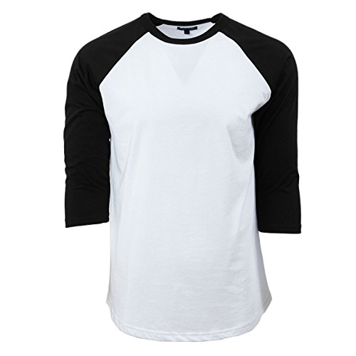 Rich Cotton Raglan T-Shirts (L, White/Black)