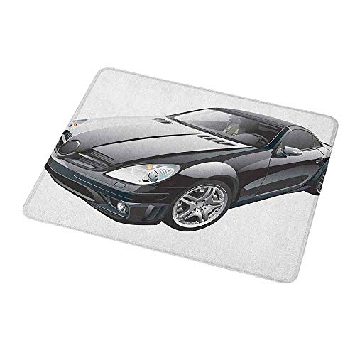 Gaming Mouse Pad Cars,Black Modern Sport Car Drive Transportation Automobile Front View Collectors,Black Grey White,Custom Non-Slip Mouse Mat 9.8