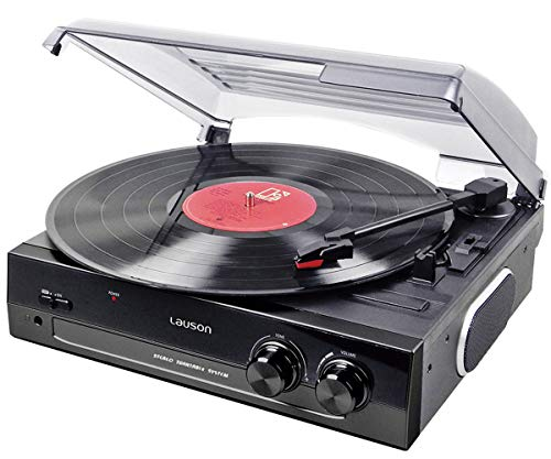Lauson CL502 Turntable, USB Vinyl-to-MP3 Record Player 2 Speed, Stereo Built in Speakers, Belt-Driven Vintage Phonograph Record Player, Stylus AG101, Black
