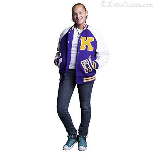 Womens Varsity Letter Jacket White Leather & Purple Wool with Gold Knit Trim