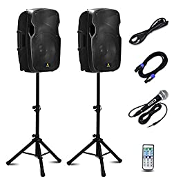 AKUSTIK Dual 2-Way Powered PA Speaker System, Portable DJ Speaker with Active + Passive Speakers, 2 Speaker Stands…