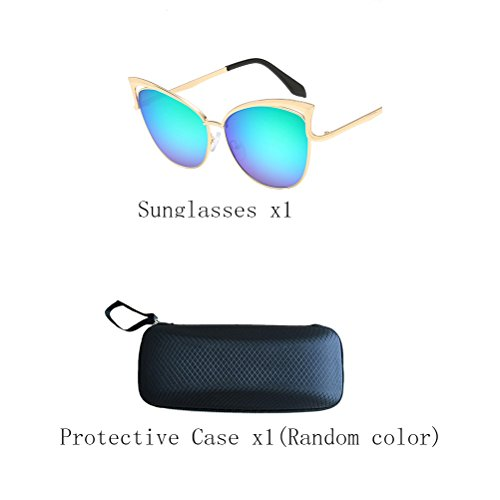 Sunglasses Green Gold Unisex Protection des Mirror Men's frame UV400 lunettes de Zhhyltt soleil Women's xOq84Upw