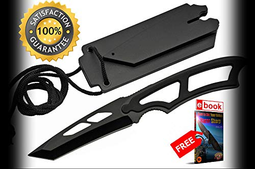 Neck SHARP KNIFE Rite Edge Low Cost Black Tactical Tanto Blade Full Tang + Hard Sheath Combat Tactical Knife + eBOOK by Moon Knives