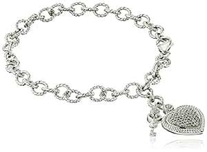 """Sterling Silver Diamond Heart Bracelet (1/5 cttw), 7.5"""""""