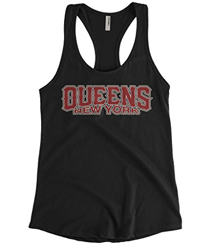 Cybertela Women's Queens NY New York Racerback Tank Top (Black, Large) (Train From Long Island To New Jersey)