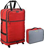 Biaggi Zipsak Micro-Fold Spinner Suitcase - 27-Inch Luggage - As Seen on Shark Tank - Red