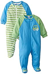 Gerber Baby Boys\' 2 Pack Zip Front Sleep \'N Play, Cars, 0-3 Months