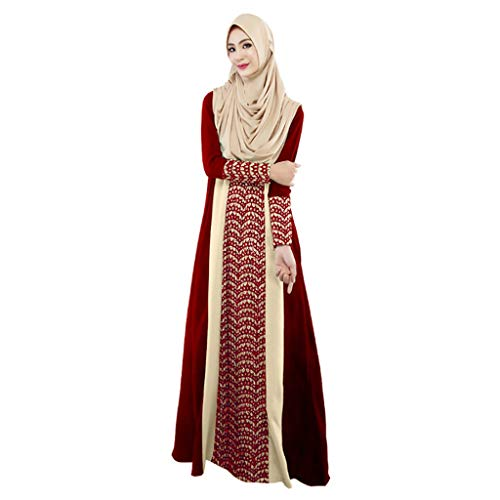 Dainzuy Muslim Clothes for Women Long Sleeve Maxi Dress Dubai Ethnic Patchwork Gown Islam Abaya Kaftan Muslim Robe Red