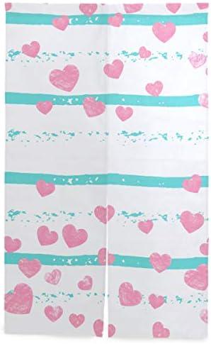 VINISATH 間仕切りカーテン,ターコイズにピンクのグリッターハート紙吹雪,家庭用ショップカフェ風水ファッションのカスタムパターンに適したパーティションシェード