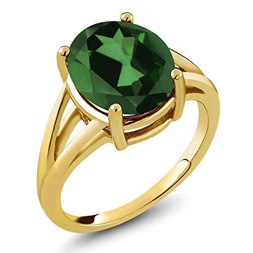 Gem Stone King 4.00 Ct Oval Green Mystic Quartz 18K Yellow Gold Plated Silver Ring (Size 7)