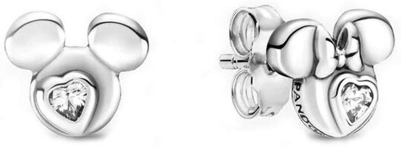Pandora Disney Topolino & Minnie, orecchini in argento Sterling con  zirconia cubica, dimensioni: 0,7 cm