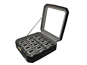 CORDAYS - Estuche Relojero para 15 Relojes con Vitrina de Cristal Joyero Relojero para Accesorios y Joyas -Hecho a Mano- en Color Negro CDM-00039