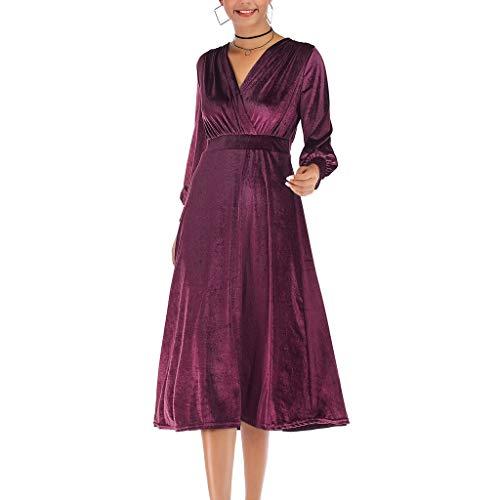 Pervobs Women Soft Velvet Long Sleeve Cross V-Neck Loose Swing Party Formal Dress(US:6, Purple)