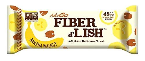 NuGo Fiber d'Lish Bar, Banana Walnut, 1.6 Ounce (Pack of 16)