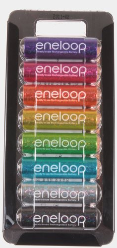 Sanyo 5th Anniversary Special 8 pack AA 2nd Gen 1500 cycle eneloop in Glitter colors