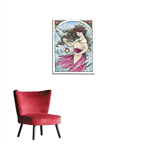 longbuyer Wall Sticker Decals Art Nouveau Lady with Poinsettia Holding Bell Ornament Mural ()