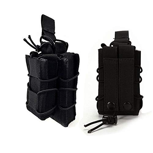 (HWZ Tactical Molle Magazine Pouch Open-Top Single Rifle Pistol Mag Pouch AR/M4/M16 Cartridge Clip Pouch Hunting Bag (Black))