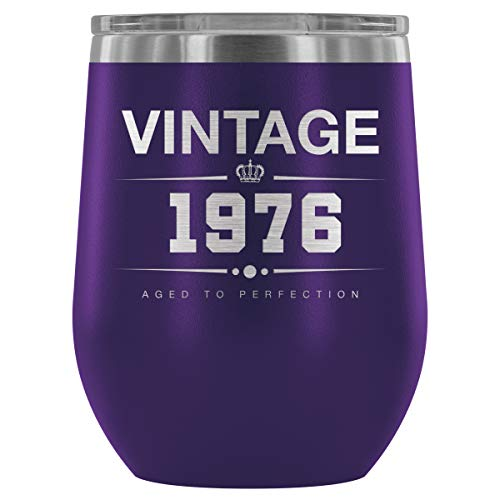 1976 42nd Birthday Gifts for Women and Men 12 oz Wine Tumbler Cup - Funny Vintage Golden Anniversary Gift Ideas for Him