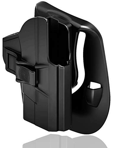 S&W M&P Shield 9mm Holster, Smith and Wesson MP Shield 9mm .40 Holster Paddle Carry Waistband Tactical Pistol Right Hand Belt Holster OWB, Black
