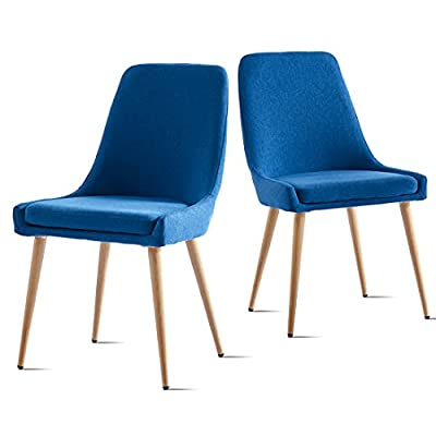Buy Dining Chairs Set Of 2 Wisoice Modern Kitchen Chair With Comfy Cushion And Wood Printed Metal Legs For Dining Room Kitchen Restaurant Navy Blue Online In Turkey B096575zym