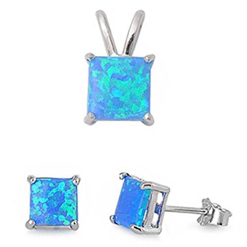 Princess Cut Lab Created Blue Opal Pendant & Earring .925 Sterling Silver Set