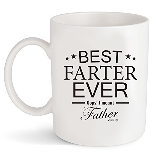 Dad Gifts Funny Coffee Mug Best Father's Day Birthday Gift for Daddy or Husband Ceramic Tea Cup 11 oz Christmas Present Best Farter Ever (Best Father)