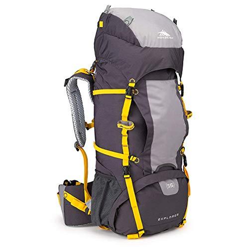 High Sierra Explorer 55L Internal Frame Backpack, Top Load 55 Liter Hiking Backpack, Mercury/Ash/Yell-O