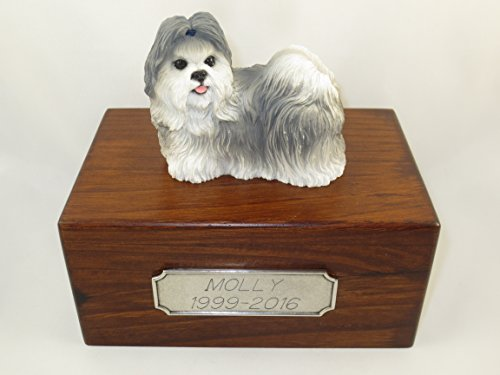 Beautiful Paulownia Small Wooden Urn with Gray & White Shih Tzu Figurine & Personalized Pewter Engraving