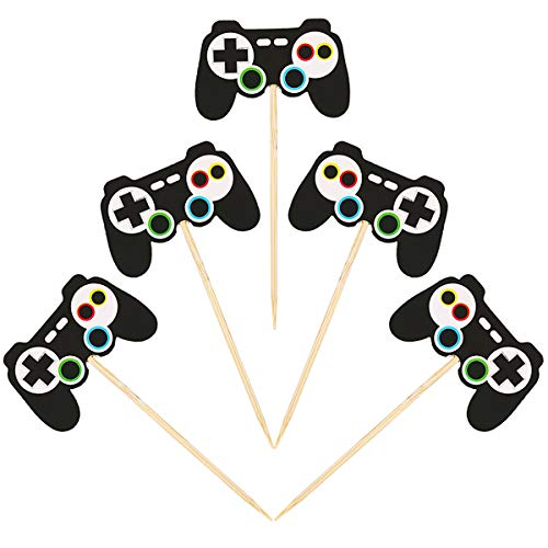 Aresmer 24 Pieces Video Game Cupcake Toppers, Cupcake Picks Cake Decorations for Kids Game Themed Party