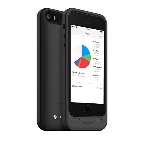 mophie spacepack battery case with Built -in 64GB storage for iPhone 5/5S/5se (1,700mAh) - Black by mophie