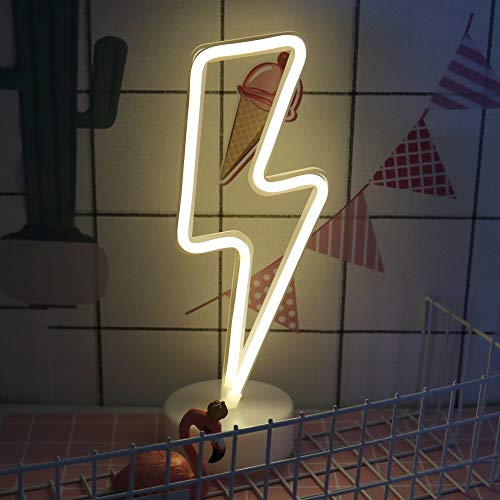 - ENUOLI Neon Signs Lightning Bolt Battery Operated and USB Powered Warm White Art LED Decorative Lights with Base Night Lights Indoor for Living Room Office Christmas Wedding Party Decoration