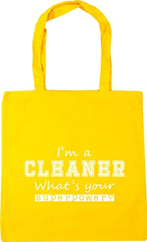 HippoWarehouse I'm a Cleaner What's Your Superpower? Tote Shopping Gym Beach Bag 42cm x38cm, 10 litres Yellow