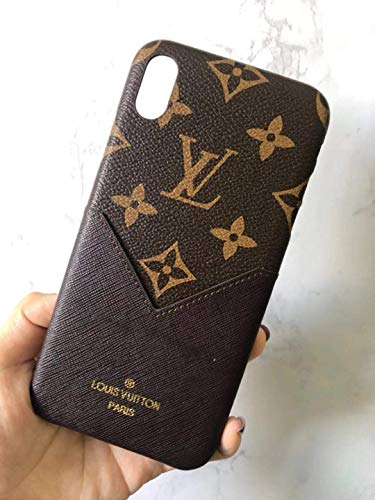 Phone case for iPhone Xs MAX Brown Fashionable Luxurious and Elegant high-Grade Leather Material Monogram Vintage Style Cover Case for Apple iPhone Xs Max ... (Beige)