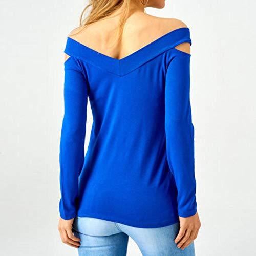 sans Longues Shirt Manches Longues Longues Manches Sweat T pour Femme Bleu Shirt Femmes Bretelles Pull Chemise Chic Manches Tops 6OpdxqdR