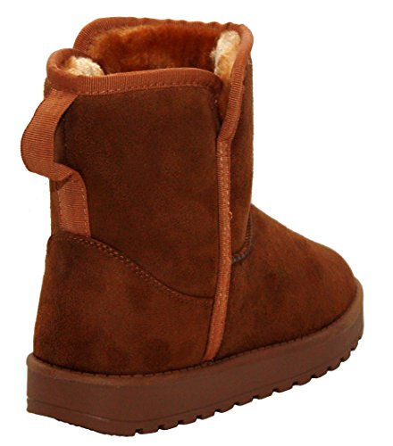 Cushion Walk Womens Ladies Faux Suede Fur Lined Girls Pull On Warm Thick Snow Winter Ankle Boots Shoes UK Sizes 5-8 Tan ZgayGJfkSl
