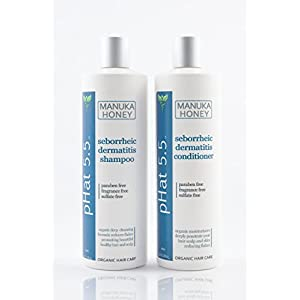 Sulfate Free Shampoo and Conditioner Set for Seborrheic Dermatitis Relief – Severe Dry & Itchy Scalp Treatment with Manuka Honey, Aloe Vera & Coconut Oil – Safe for Color Treated Hair (16 oz)