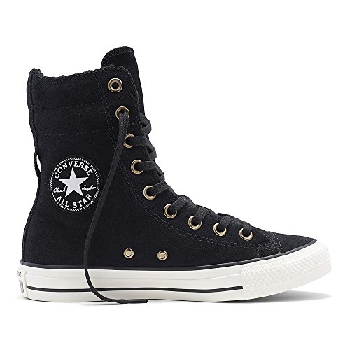 Converse Womens Boots (CONVERSE Chuck Taylor All Star Hi Rise Black/Egret Suede Sneakers 553420C Women Boot Shoes (6 Men/ 8 Women))