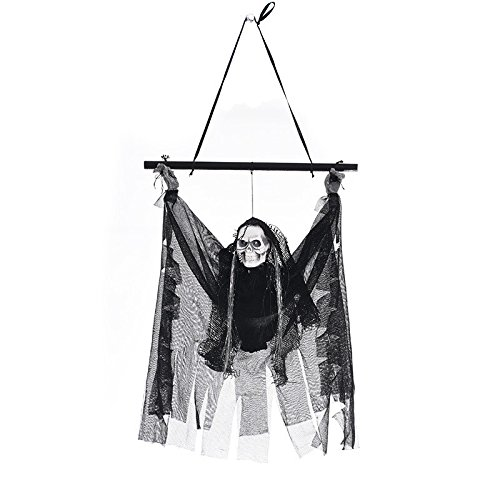 VT BigHome Creepy Scary Animated Skeleton Haloween Hanging Ghost Voice Control Door Decoration Creepy Haunted Props Light Up Hanging Ghoul