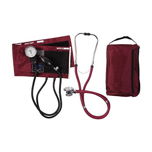 Manual Blood Pressure Kit - MABIS MatchMates Aneroid Sphygmomanometer and Sprague Rappaport Stethoscope Combination Manual Blood Pressure Kit with Calibrated Nylon Cuff, Professional Quality, Carrying Case, Burgundy