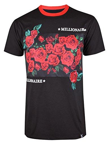 SCREENSHOTBRAND-S11846 Mens Hipster Hip-Hop Premium Tees - Stylish Longline Fashion Jersey T-Shirt Rose Embroidery Pattern-Black-Large by SCREENSHOT