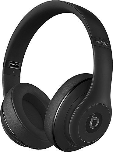 2018 Beats Studio2 Wireless Bluetooth Over-Ear Headphones with Dual-mode Adaptive Noise Canceling, Iconic Beats Sound, Built-in Mic, Built-in Rechargeable Battery, On/Off Switch, USB, Matte Black by Beats