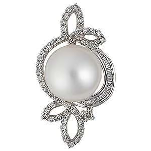 Verona Women's White Gold 18K Diamond Pearl Pendant