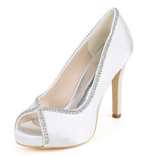Hochzeit L 42 Heels YC Blume Satin White Schuhe Spitze Größe Party 35 Strass Frauen High qYBErwpY