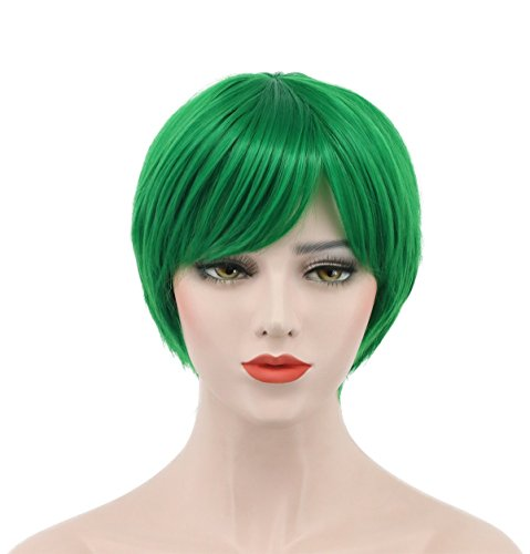 Karlery Women Short Straight Bob White Green Black Wigs Bangs Halloween Cosplay Wig Anime Costume Party Wig (Green) -