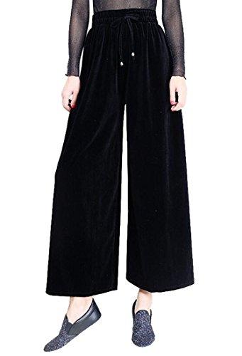 Discount LD Womens Casual Plus Size Velour Elastic Waist Wide Leg Palazzo Pant hot sale