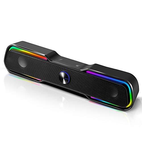 컴퓨터 스피커 ARCHEER 블루투스 RGB 게임 스피커 USB 강화 유선 사운드와 강화된 스테레오 LED 가벼운 베이스 듀얼 채널 데스크탑 스피커를 PC 에 대한 태블릿 노트북 스마트 폰을 TV(10W | 블랙)