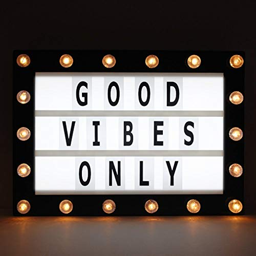 Marquee Light Box, Cinema Light Box, Cinematic Light Box, Letter Light Box with 200 Letters, 32 LED Lights, 18 Yellow LEDs on Marquee, USB Cable, Size 16.5 x 11.8 x 2 (Yellow Lights)